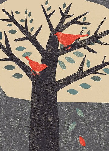 PACK of 6 Red Birds in the Tree Card