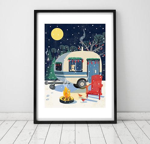 Cosy Caravan & Dog A3 Print