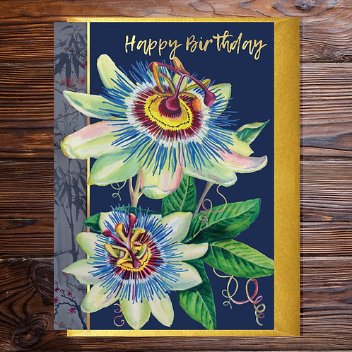 Passion Flower Birthday Blank with Gold Type