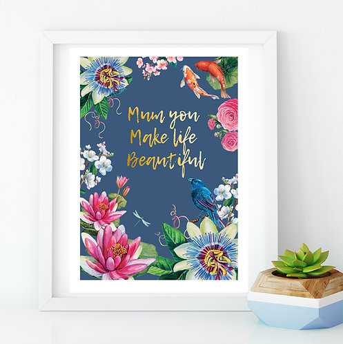 Flowers & Gold Mum A3 Print
