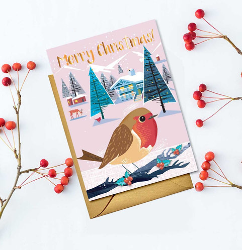 PACK of 6 Merry Christmas Robin