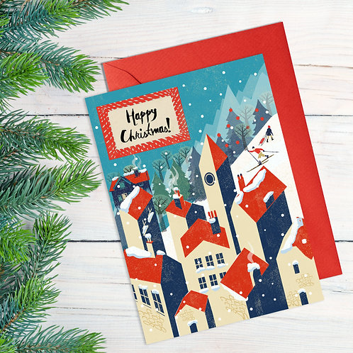 PACK of 6 Winter Village Christmas Card