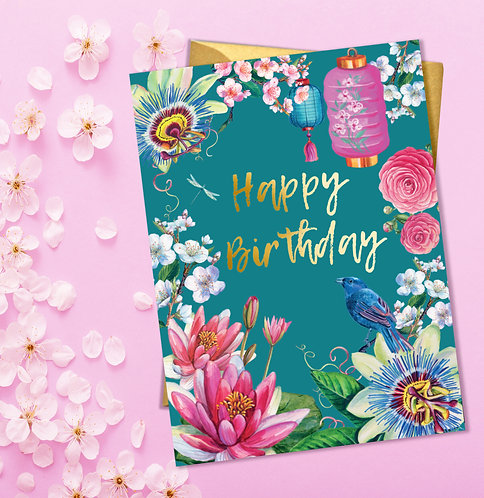 Happy Birthday Japanese Teal Floral Card with Gold Detail