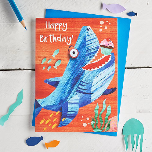 PACK of 6 Shark Happy Birthday Card