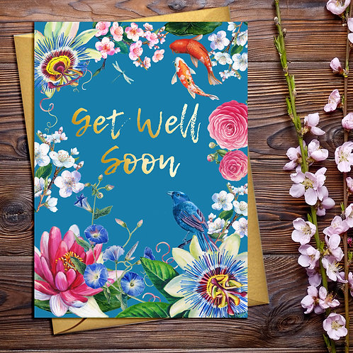 Get Well Soon Japanese Floral Card with Gold Detail