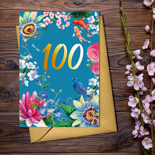 100th Floral Birthday Card with Gold Detail