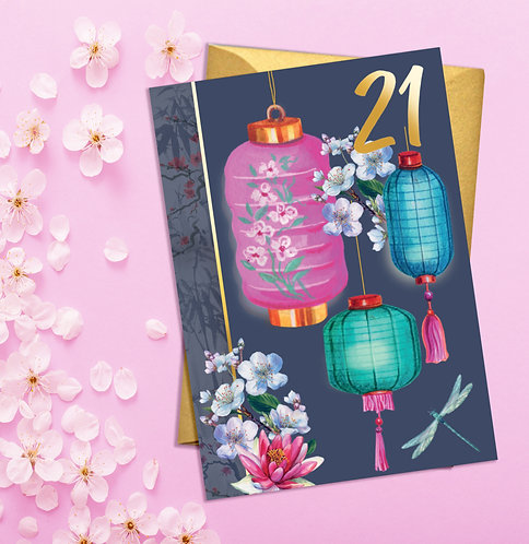 PACK of 6 21st Birthday Pretty Lanterns Card with Gold Detail