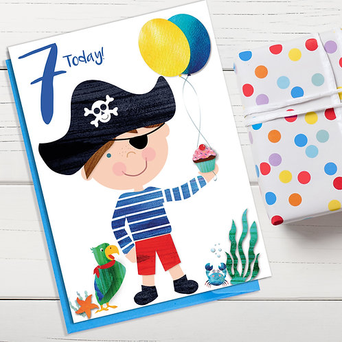 PACK of 6 Pirate Boy Birthday Card