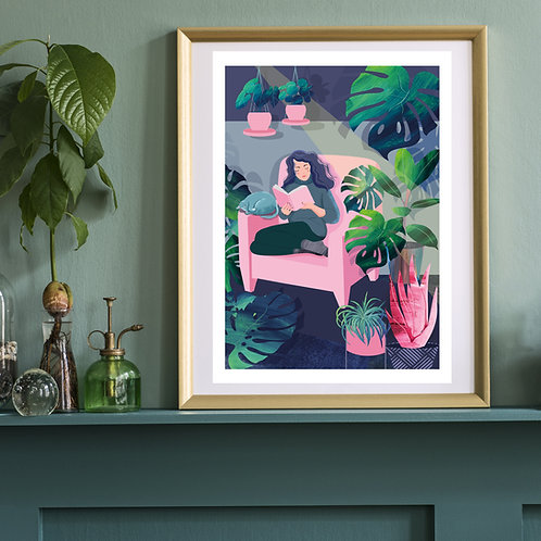 Reading Amongst The Plants Art Print