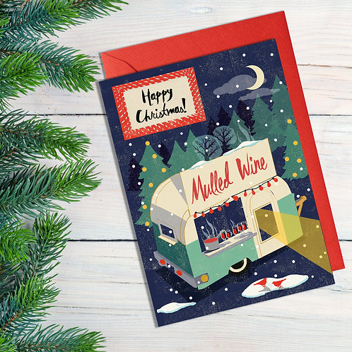 PACK of 6 Mulled Wine Van Christmas Card