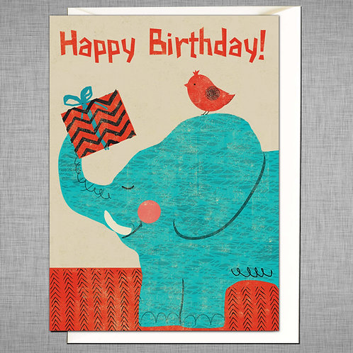PACK of 6 Elephant Birthday Card