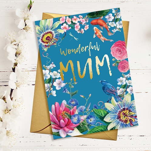 Wonderful Mum Japanese Floral Card with Gold Detail