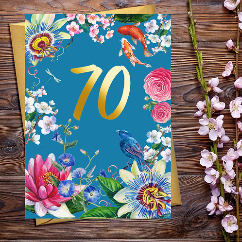PACK of 6 70th Floral Birthday Card with Gold Detail
