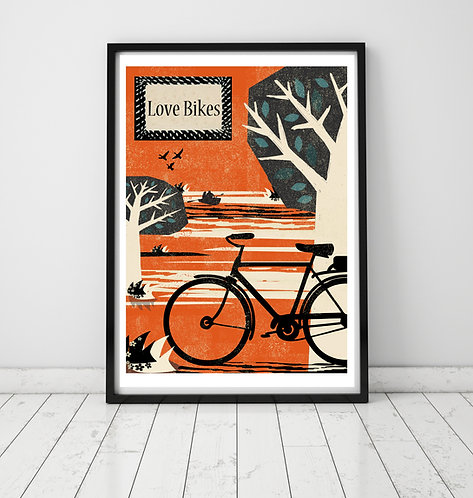 PACK of 2 Love Bikes Print