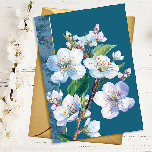 Blossom and Teal Blank Card with Gold Accents