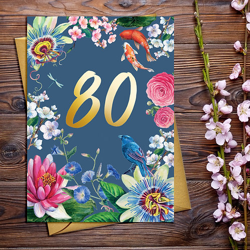 80th Floral Birthday Card with Gold Detail