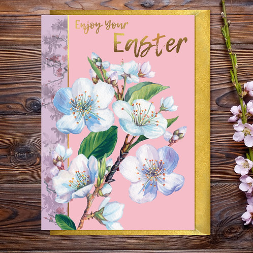 Easter  Blossom Card with Gold Type