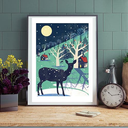 Woodland Deer Winter Print