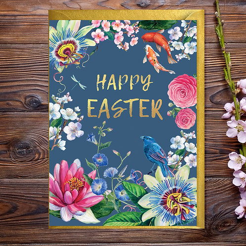 Happy Easter Floral Card with Gold Type