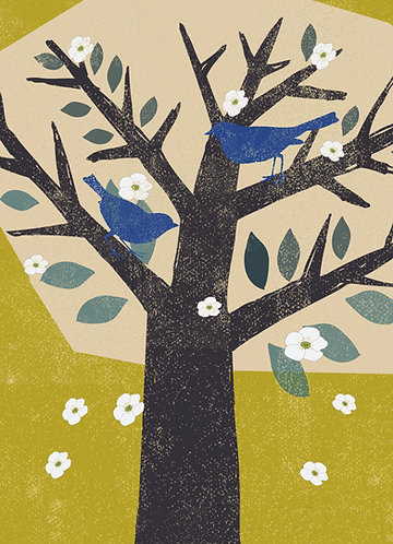 PACK of 6 Blue Bird's in the Tree Card