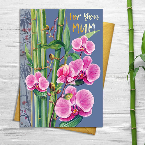 Mum Orchid Floral Card with Gold Detail