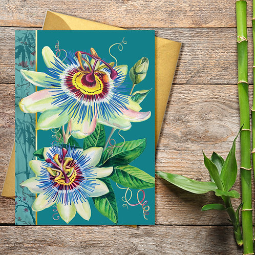 PACK of 6 Passion Flower Card with Gold Accents