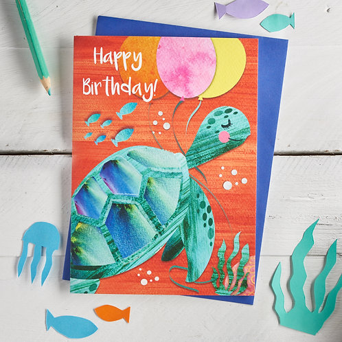 PACK of 6 Turtle Happy Birthday Card