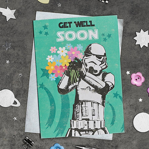 PACK of 6 Stormtrooper Get Well Soon Card