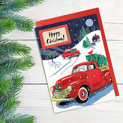 PACK of 6 Christmas Pickup Truck Card