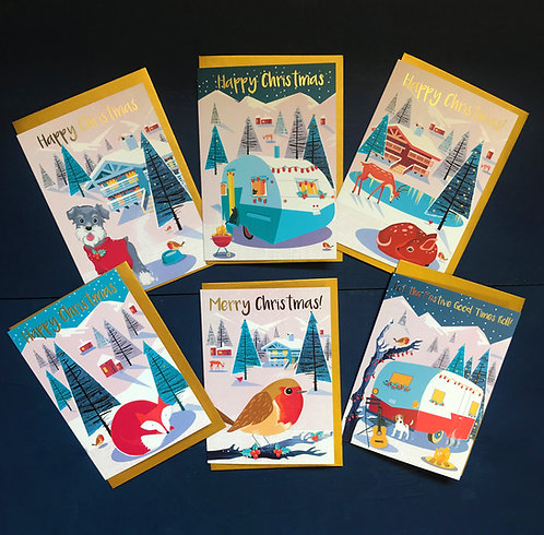 Festive Alpines pack of 6 Card gold foiled cards