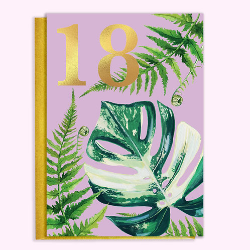 PACK of SIX 18th Birthday Houseplants Card with Gold Type