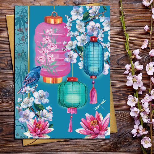 Lanterns and Blossom Card with Gold Accents