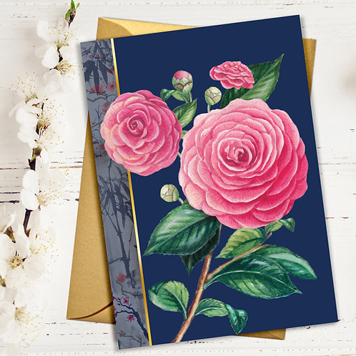 PACK of 6 Pink Camelia Flower Card with Gold Accents