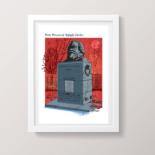 PACK of 2 Marx Monument London A3 Print
