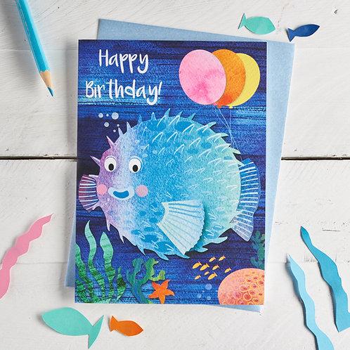 Puffer Fish Happy Birthday Card