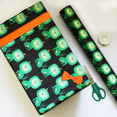 Green Lion Gift Wrap
