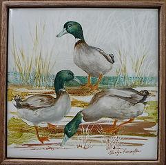 ducks china painted on tile