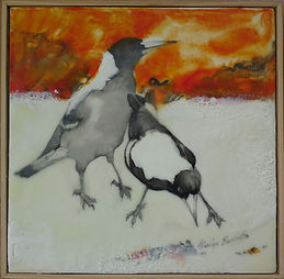 Magpies painted in encaustic wax over ink with textural work.