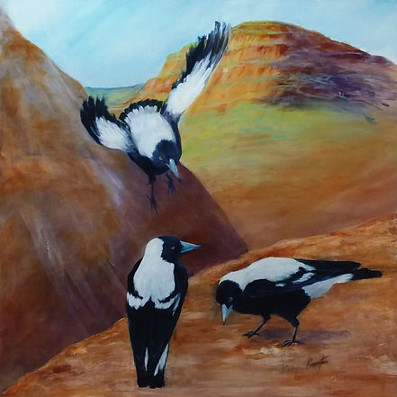 RETURN OF THE MAGPIES I acrylic on canva