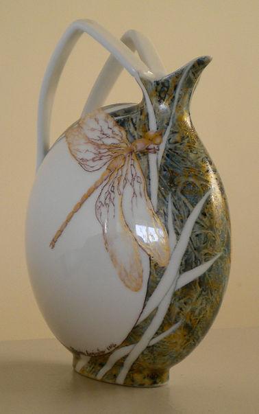 origanal design hand painted dragonfly on porcelain vase