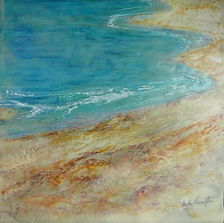 encaustic painting coastal scene
