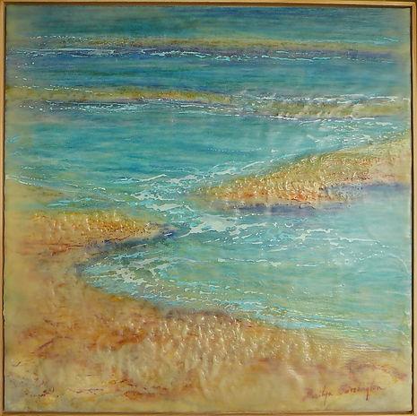abstract coastline in encaustic