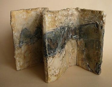 abstract sculpture in encaustic
