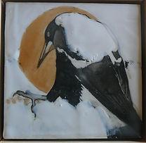 Magpie painted in encaustic