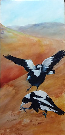 RETURN OF THE MAGPIES II acrylic on canv