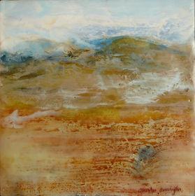 abstract scene in encaustic