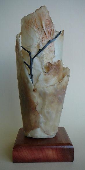 Encaustic on paper sculpture