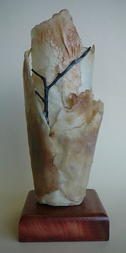 vessel formed with encaustic,paper and sticks
