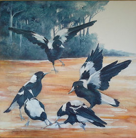 Magpies painted in acrylic on canvas