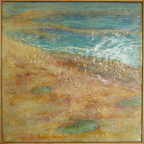 coastal shoreline abstract encaustic